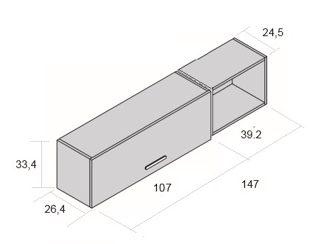 Medidas conjunto estantería para colgar con escritorio juvenil