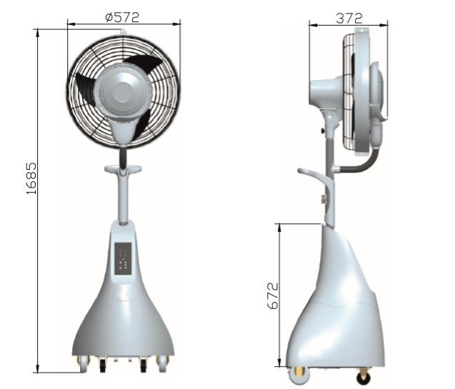 Evaporative fan measures for terrace of 30m2