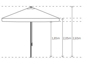 Medidas parasol NATURAL 3x3m