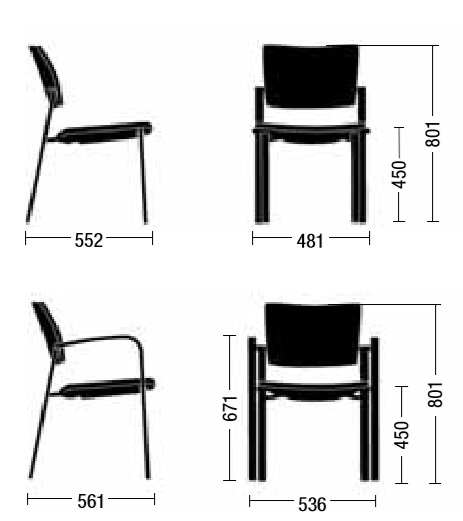 Medidas silla bio de ENEA con y sin apoyabrazos
