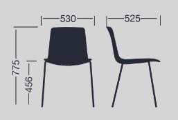 Medidas silla LOTTUS de ENEA versión 4 pies