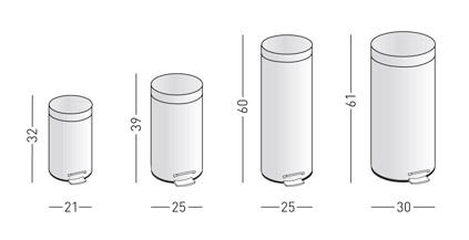 Medidas papelera inoxidable con tapa pedal y cubo interior