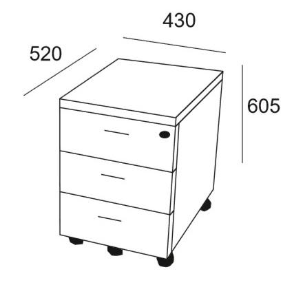 Medidas cajonera de oficina de 3 cajones. Muebles de oficina online.