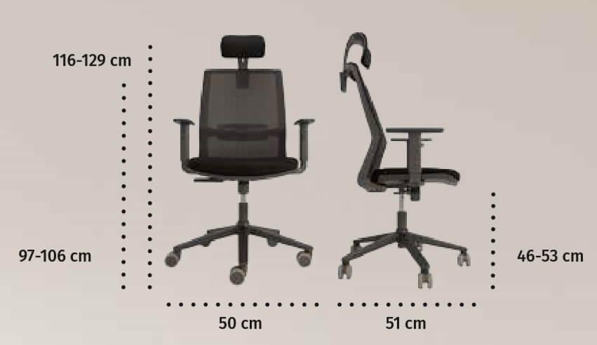 Medidas silla ergonómica en malla de calidad Oyana