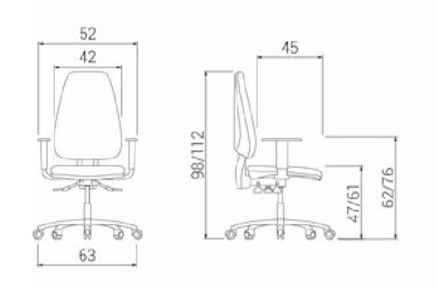 Details measures office swivel chair Adapta Eco
