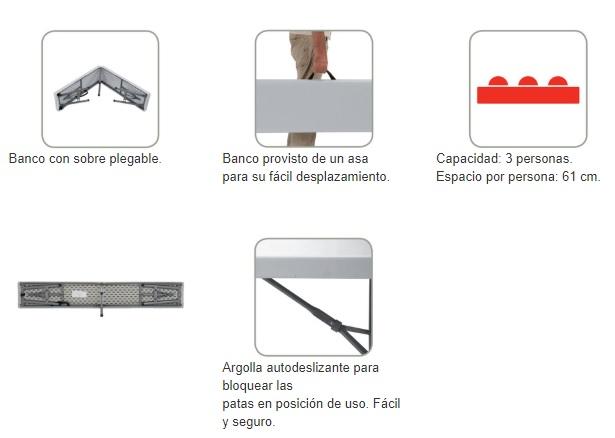 Características técnicas del banco plegable para hostelería y evcentos sharpbench