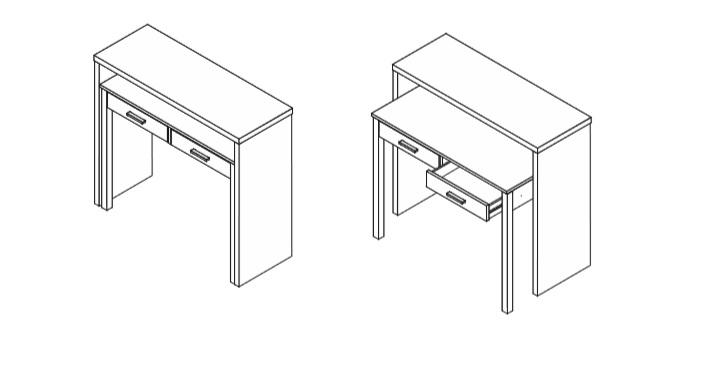 Detalle mesa escritorio para ordenador plegable a consola