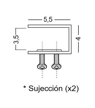 Detalle de la fijación del separador de sobremesa