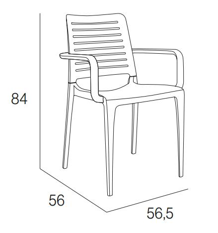 Medidas silla park con brazos